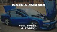 VINCE'S MAXIMA Story & Specs