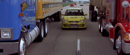EVO between two trucks