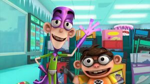 """Fanboy and Chum Chum waving at the audience in the episode, """"The Big Bopper""""."""