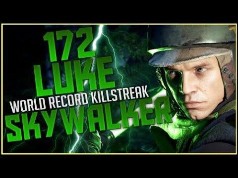 Battlefront-2 172 Luke Skywalker World Record Killstreak/Gameplay