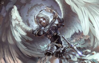 Angel-warrior-sword-armor-crown-wings-white-angel-girl-artwo