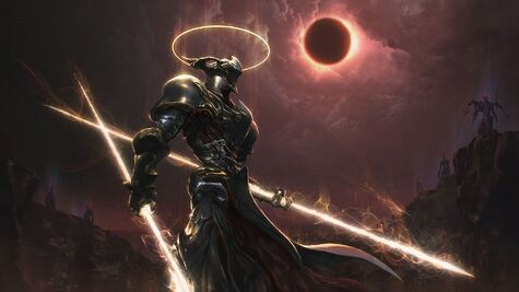 33660-warrior-artwork-digital art-cyborg-solar eclipse-demon-angel-apocalyptic-knights-Peter Zhou-fantasy art-warflame