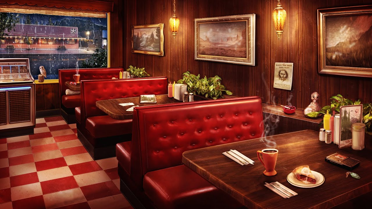 Twin Peaks Double R Diner Ambience - 8 Hours of Smooth Jazz Music, Rain Sounds, & Cozy Cafe Ambience