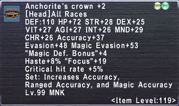 Anchorite's Crown +2