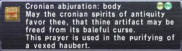Cronian Abjuration: Body