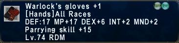 Warlock's Gloves +1