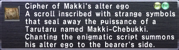 Cipher of Makki's alter ego