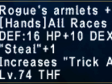 Rogue's Armlets +1