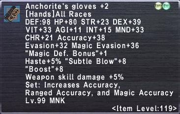 Anchorite's Gloves +2