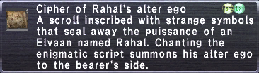 Cipher of Rahal's alter ego