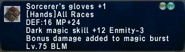 Sorcerer's Gloves +1