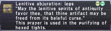 Lenitive abjuration: legs
