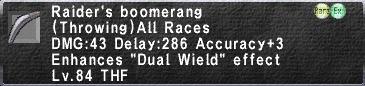 Raider's Boomerang