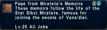 Miratete's Memoirs