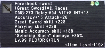Foreshock Sword