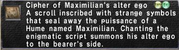 Cipher: Maximilian