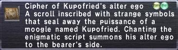 Cipher: Kupofried