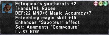 Estoqueur's Gantherots +2
