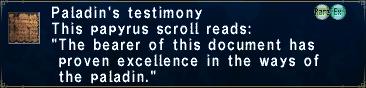 Paladin's Testimony