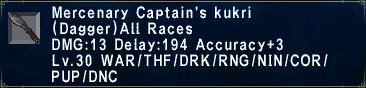 Mercenary Captain's Kukri