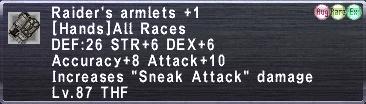 Raider's Armlets +1