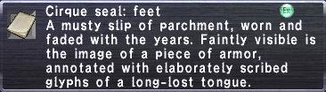 Cirque Seal: Feet