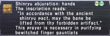 Shinryu Abjuration: Hands