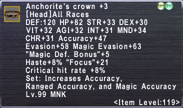Anchorite's Crown +3