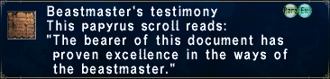 Beastmaster's Testimony