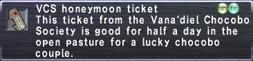 VCS Honeymoon Ticket