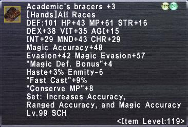 Academic's Bracers +3