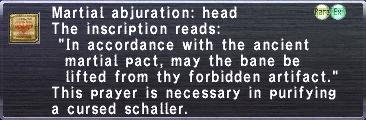 Martial Abjuration: Head