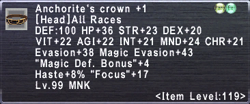 Anchorite's Crown +1