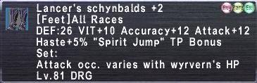 Lancer's schybalds +2
