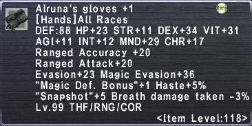 Alruna's Gloves +1