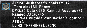 Junior Musketeer's Chakram +2