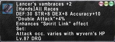 Lancer's Vambraces +2