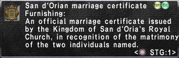 San d'Orian Marriage Certificate