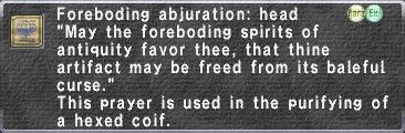 Foreboding Abjuration: Head