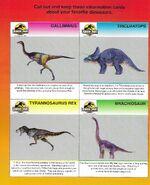 Jurassic Park Dinosaur Information Cards