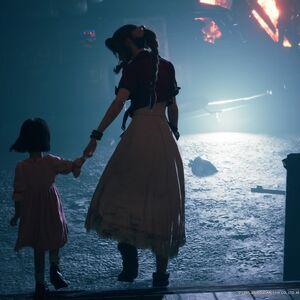 Aerith leads Marlene away from FFVII Remake.jpg