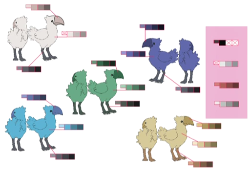 Chocobos palette concept for Final Fantasy Unlimited.png