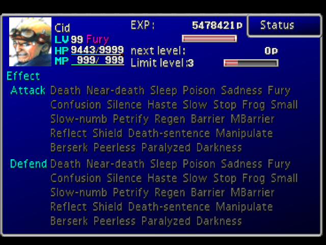 Final Fantasy VII statuses