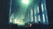 Sector 5 Slums Church pews artwork for FFVII Remake