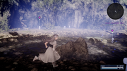 Sarah chases after Hiso Alien kids in FFXV x Terra Wars collab