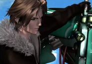 Squall riding on a Galbadian jetpack from FFVIII Remastered