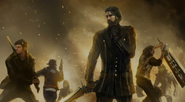 Regis and the others in battle