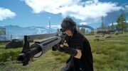 Noctis with Cerberus sniper rifle in FFXV.jpg