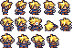 Cloud, designed as a sprite in Final Fantasy Anthology.