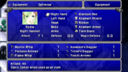 TAY PSP Equipment Menu
